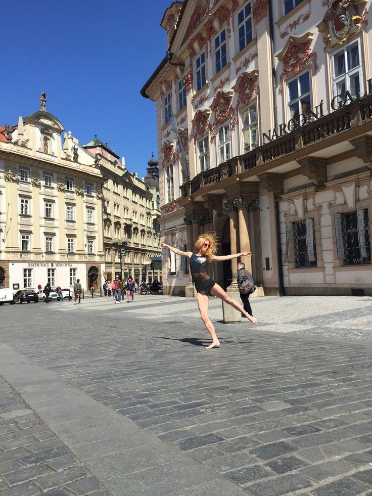 Dancer Zuzana, Old town square, Prague.. Siluet YOGA WEAR silver leotard.. Bikram yoga, yoga, pole dance, dance competition, championship, leotard,active wear, fitness wear