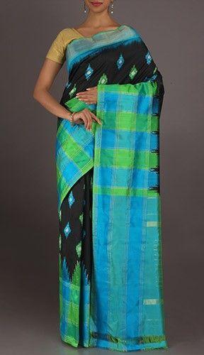 Vishakha Icy Blue Diamonds Smart Ikat Pochampally Silk Saree