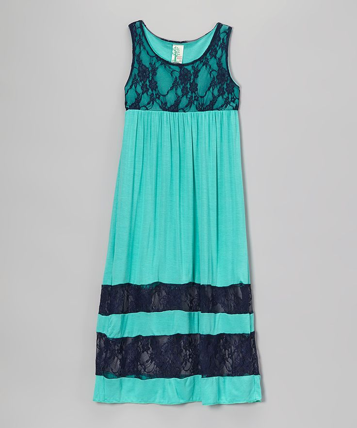 Navy & Teal Lace Maxi Dress - Infant, Toddler & Girls | zulily