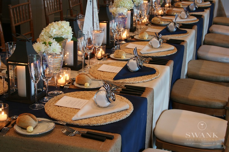 Blue And Beige Table Settings With Navy And Tan Accents
