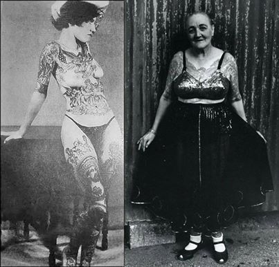 Jean Furella Carroll became a tattooed woman for love. Once a bearded lady in the circus, she met her future husband, but he would not become involved with her because of her beard. So she removed it and had her body covered in tattoos to stay in the business. Pic shows her in the 1930's and then again in the early 1960's. She passed away in December 1969. Source : The Vanishing Tattoo