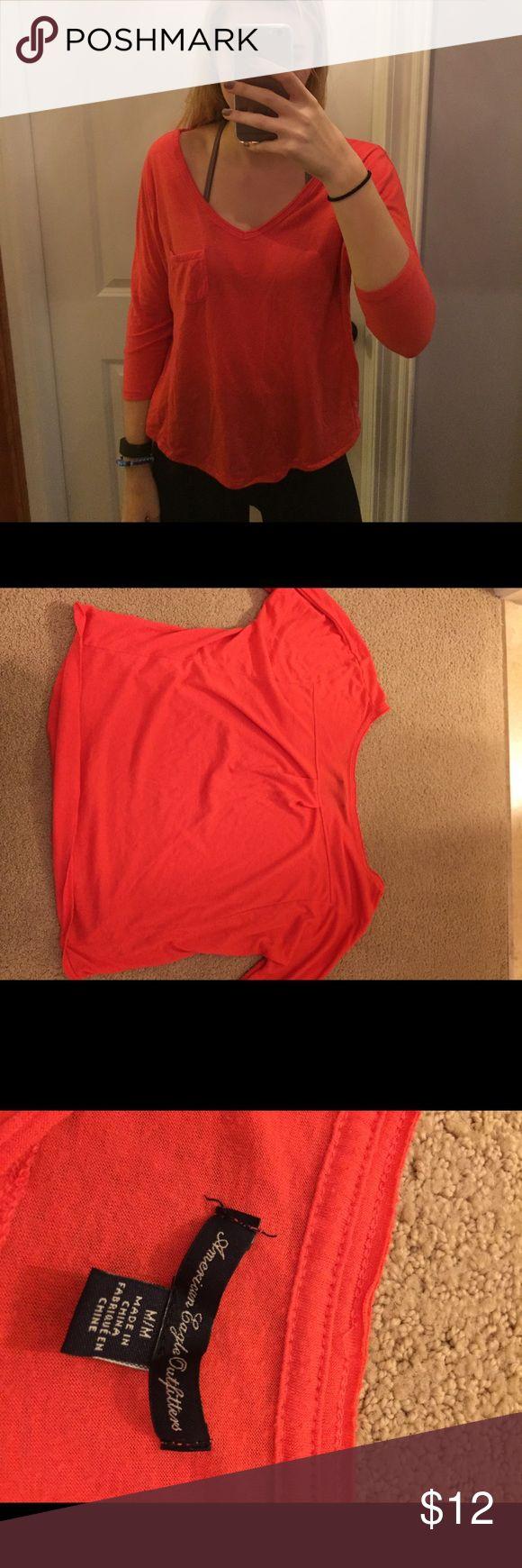 Orange tee Orange tee with three quarter length sleeves American Eagle Outfitters Tops Tees - Long Sleeve