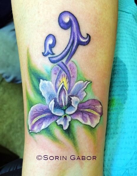 realistic color orchid mother daughter forearm tattoo by Sorin Gabor -  	She wanted something for her and her daughter and had sent me some basic ide