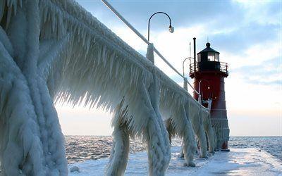 Scarica sfondi inverno, ghiaccio, faro, lago michigan