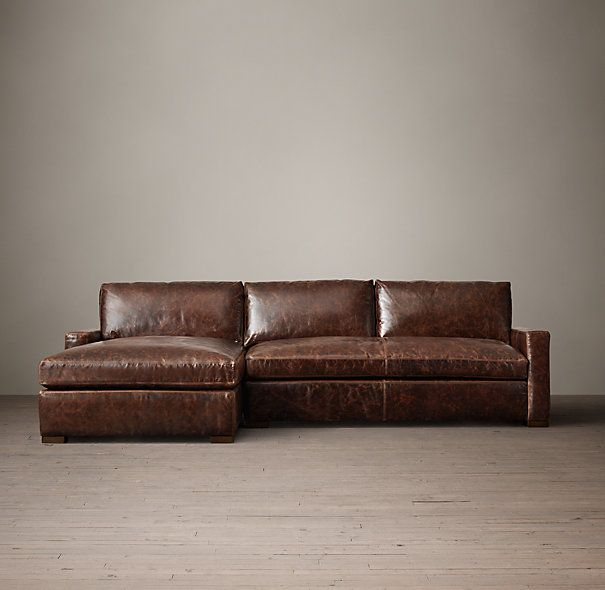 The Petite Maxwell Leather Left Arm Sofa Chaise Sectional (this would be perfect for his Man