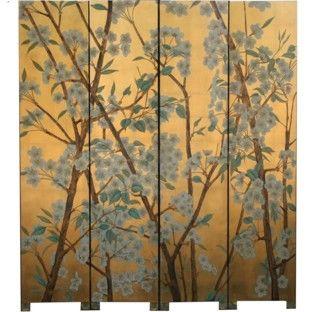 Wild Flower Chinese Room Divider Screen - Gold Leaf Background [D] Dimension: 160 (w) x 185 (h) cm {G} Furniture>Living Room Furniture>Room Dividers