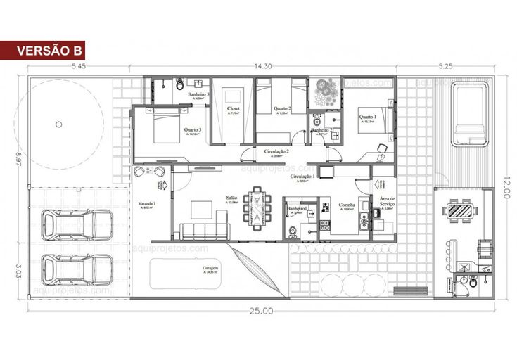 Projeto pronto de piso térreo moderno – Planos de Casas, Modelos de Casas e …   – NHÀ