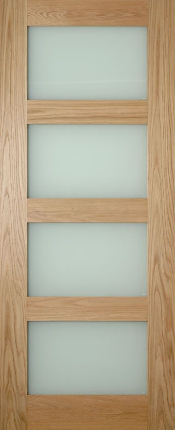 Oak Coventry 4 Panel Shaker Style Clear or Obscure glass internal door