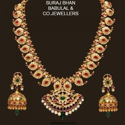 Traditional Mango Haram with full uncutdiamonds,rubies & emeralds has arrived. Do look & plan for purchase at wholesale prices with 916 BIS Hallmarked gold Jewellery Do visit SURAJ BHAN BABULAL & CO JEWELLERS at Basheer Bagh main Road Hyd. Ph:9502076000,9866095620. for more enquiry whatsapp on 9866095620