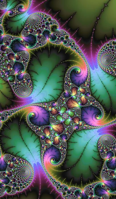Beautiful abstract art based on a mandelbrot fractal, wonderful jewel colors (green, purple and many more). Amazing details. Tall and narrow format. Click here to buy a poster, fine art print or canvas print: http://matthias-hauser.artistwebsites.com/featured/abstract-fractal-art-with-jewel-colors-matthias-hauser.html 30 days money back guarantee. (c) Matthias Hauser hauserfoto.com