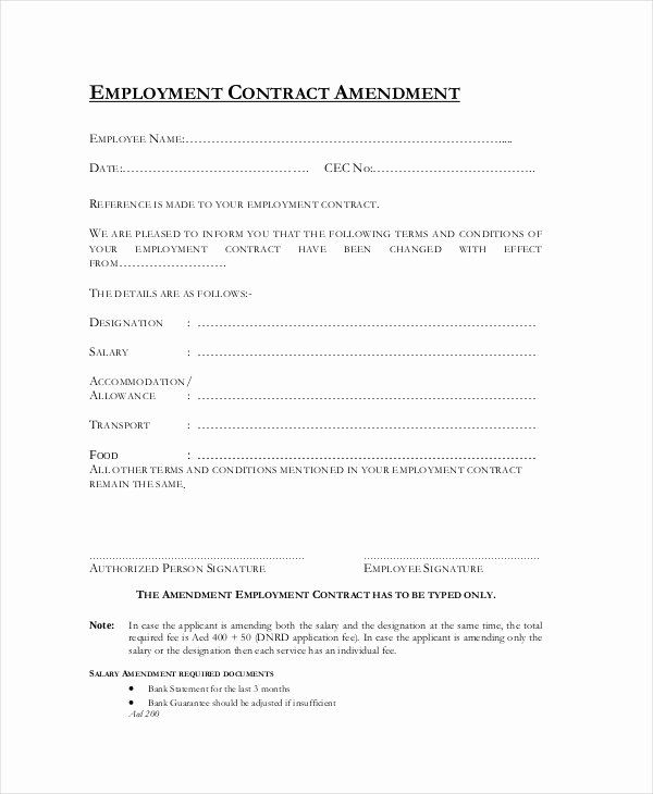 Amendment To Contract Template Unique Sample Employment Contract Forms 11 Free Documents Contract Template Custom Return Address Labels Holiday Address Labels