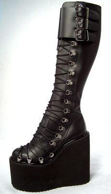 Corset Lace Ultra Lift Goth Boots. $100.00, via Etsy. oh god so sexy