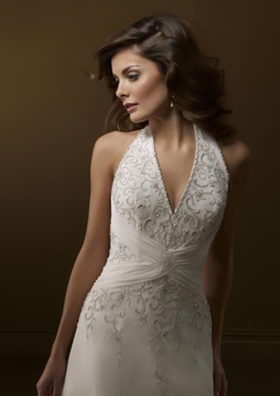 Beautiful 2012 Style A Line Halter Lace Sleeveless Sweep / Brush Train Tulle White Wedding  Dress For Brides )