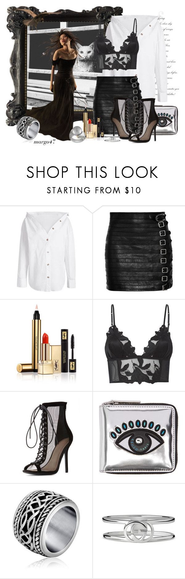 """kocie oczy"" by margo47 ❤ liked on Polyvore featuring Gucci, Yves Saint Laurent, Fleur du Mal, Charlotte Russe and Kenzo"
