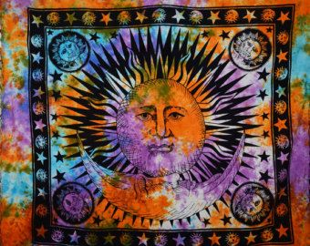 Sun, Moon & Star Tapestry 100% Pure Cotton Wall Hanging, Twin Bed Cover, Bohemian Dorm Decor Wall Hanging