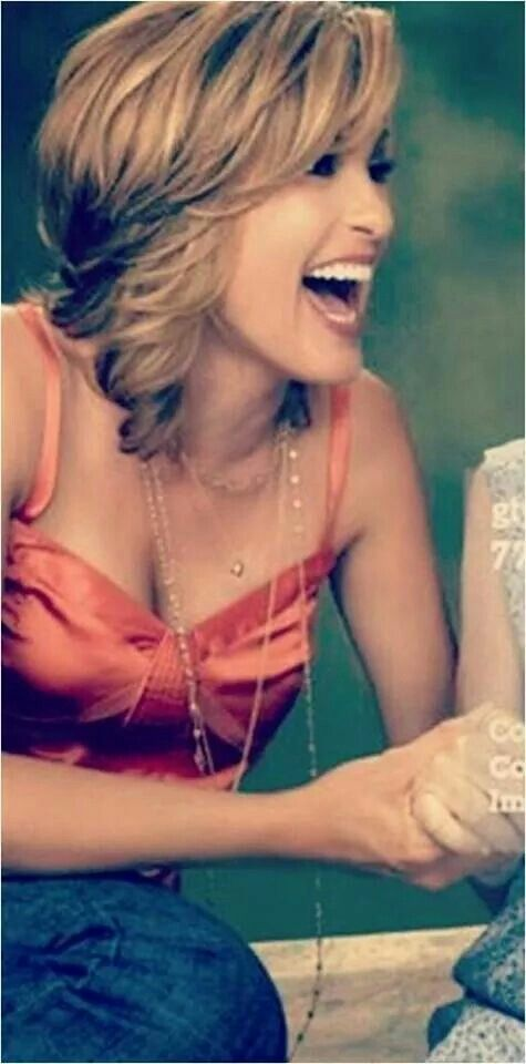 Mariska Hargitay Laughing Short Hair Balayage Beautiful
