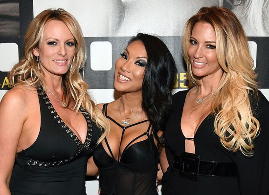 LAS VEGAS, NV - JANUARY 18: (L-R) Adult film actresses/directors Stormy Daniels, Asa Akira and jessica drake appear at the Wicked Pictures booth at the 2017 AVN Adult Entertainment Expo at the Hard Rock Hotel & Casino on January 18, 2017 in Las Vegas, Nevada. (Photo by Ethan Miller/Getty Images)