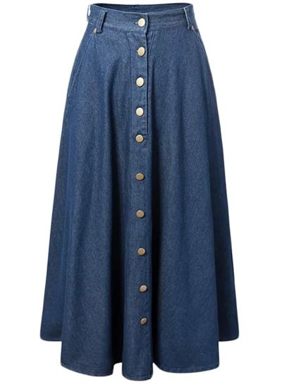Women's Fashion Button Front Pleated Maxi Denim Skirt OASAP.com