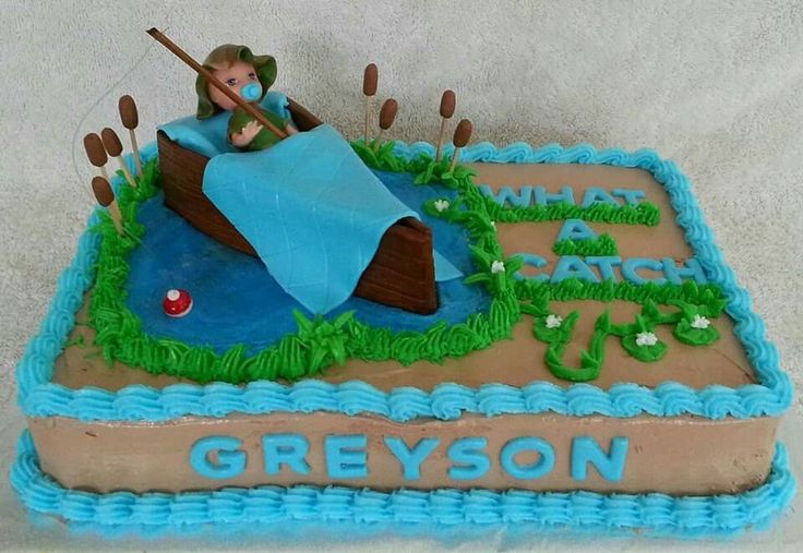 Fishing boat themed baby shower cake by amber 39 s cake lair for Fishing themed baby shower