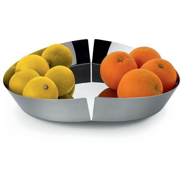 Alessi Stainless Steel Split Center Fruit Bowl ($160) ❤ liked on Polyvore featuring home, kitchen & dining, serveware, gifts - kitchen, silver, stainless steel fruit bowl, alessi fruit bowl, alessi, stainless fruit bowl and stainless steel fruit holder