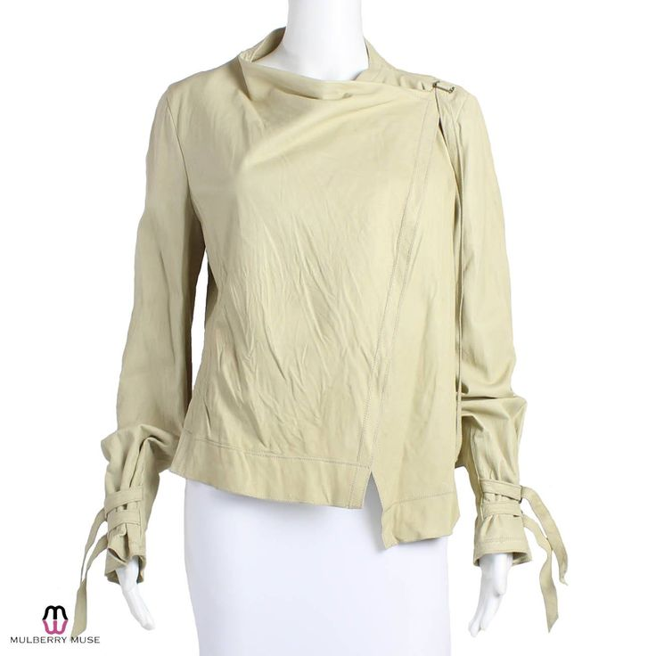 Distressed Leather Drape Crossover Jacket