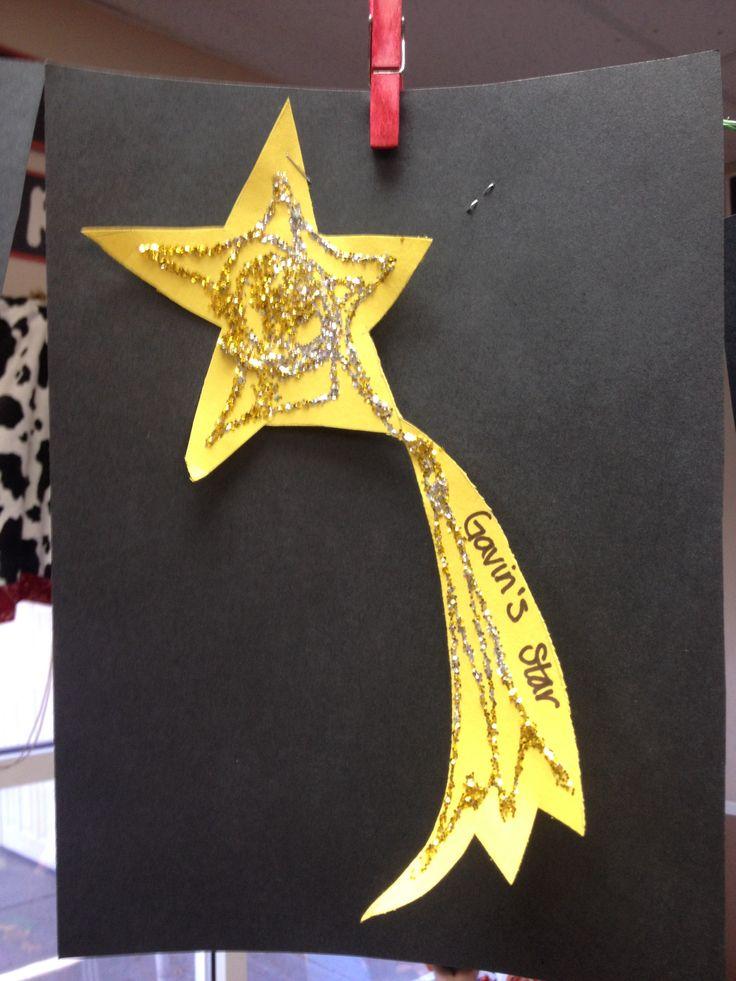 Shooting Star Art With Glitter Preschool January