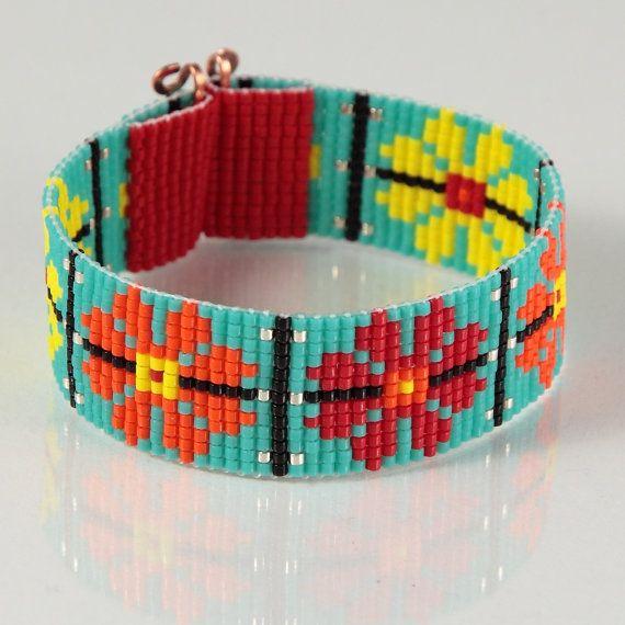 Guatemalan Garden Bead Loom Bracelet Artisanal Jewelry Southwestern Bohemian…