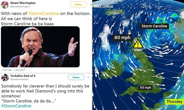 Some social media users urged forecasters to sing 'Storm Caroline, da da dah' before their weather reports today, while others referred to the 1973 Status Quo song Caroline.
