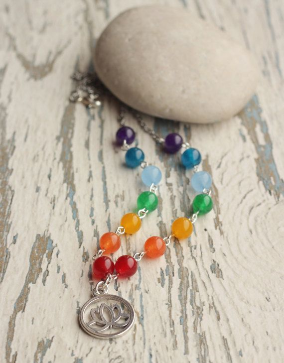 chakra necklace mala women necklace rainbow gem beaded necklace seven chakras Buddhism gift tibetan jewelry long necklace lotus love yoga