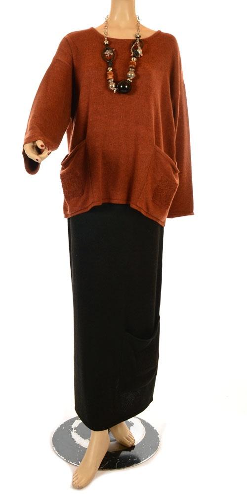 Ana Nonza New Season Black Knit Straight Skirt-Ana Nonza , lagenlook, womens…