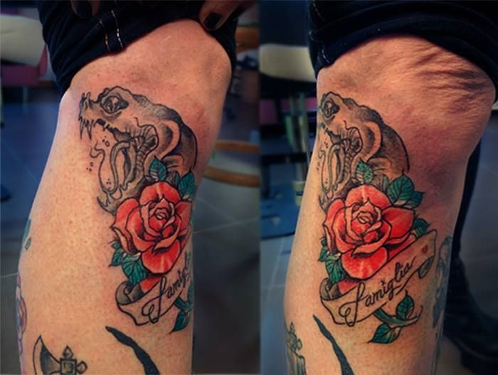 Rose tattoo www.wobba-jack.com https://www.facebook.com/WobbaJack  #tattoos #snaketattoo #girltattoo #rosetattoo #rose #snake #family #familytattoo