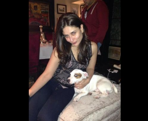 Here's a picture of Kareena Kapoor Khan with her pug 'Leo', whom she considers her 'first-born' son.