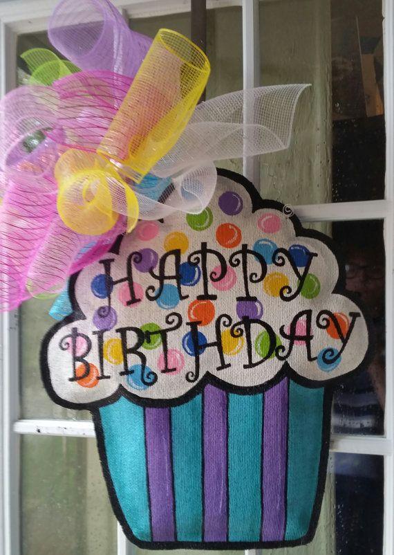 Accroche-porte toile de jute Cupcake par ConnieRisleyCrafts sur Etsy
