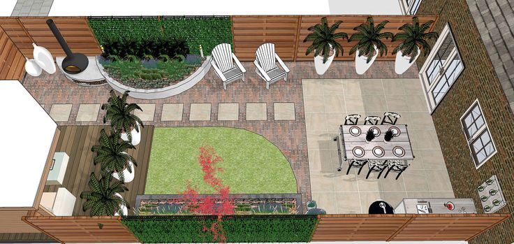 Tuinontwerp modern klassiek modern and classic garden mix old clay pavers modern ceramic - Deco kleine zithoek ...