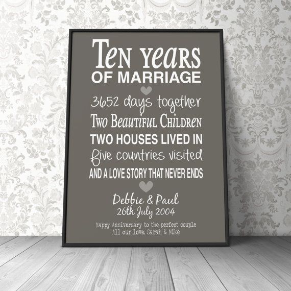 The 25+ best 10th anniversary gifts ideas on Pinterest | 10 year ...