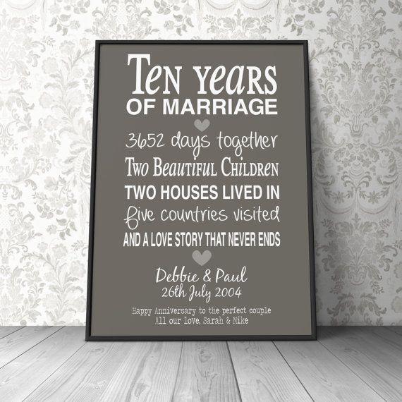 Tenth Year Wedding Anniversary Gift: 10th Wedding Anniversary Gift