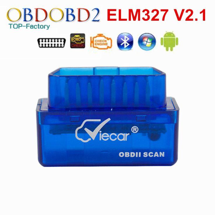 Terbaru V2.1 ELM327 Viecar Mini Bluetooth ELM 327 OBD2 OBDII CAN-BUS Diagnostik Alat Multi-bahasa Gratis Pengiriman