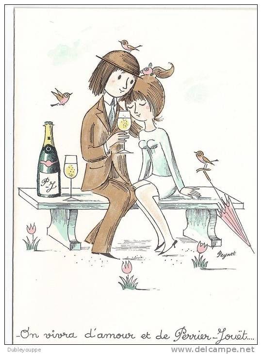01 MENU PEYNET illustre les célèbres amoureux de PEYNET pour le Champagne PERRIER JOUET - AY - E. PLANTET - Delcampe.net