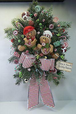Christmas Holiday Wreath Swag Gingerbread Primitive Door Walll Decor