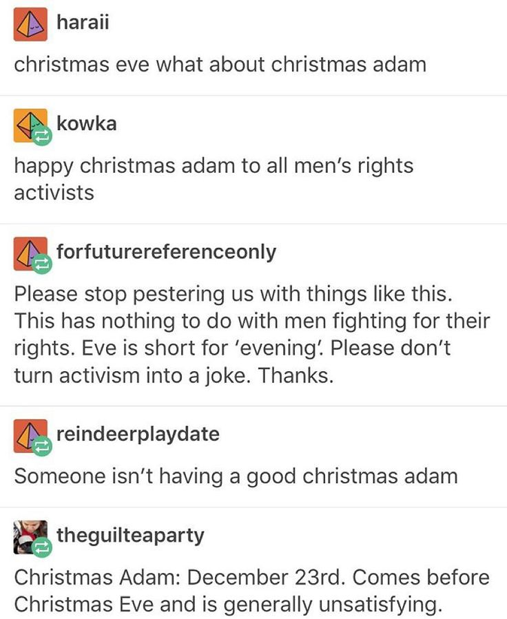 """""""merry christmas adam ☃✨"""" See we do Christmas Adam because Adam comes before Eve and it's funny"""