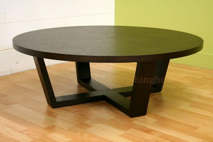 Modern black stained oak wood coffee table x wood legs for Round dark wood coffee table