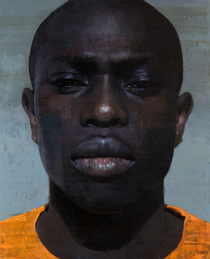 """""""Prisoner 2"""" - François Bard, realist, 2012, oil on canvas {black male man portrait painting}"""