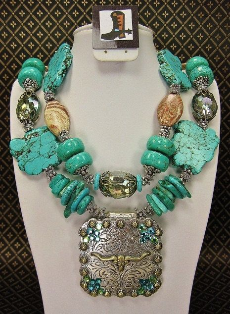 western longhorn jewerly | COWGIRL WESTERN NECKLACE / TuRQUoiSe LonGHoRN. ... | Shoes & Jewelry