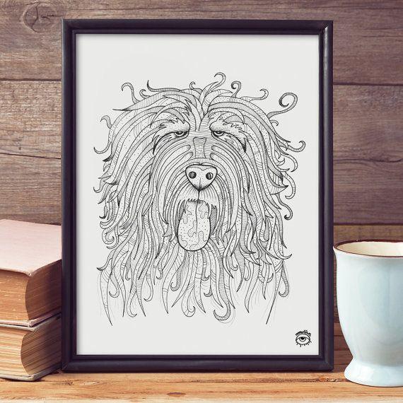 Catalan Sheepdog A4 A5 illustration print art dog print by mmuffn