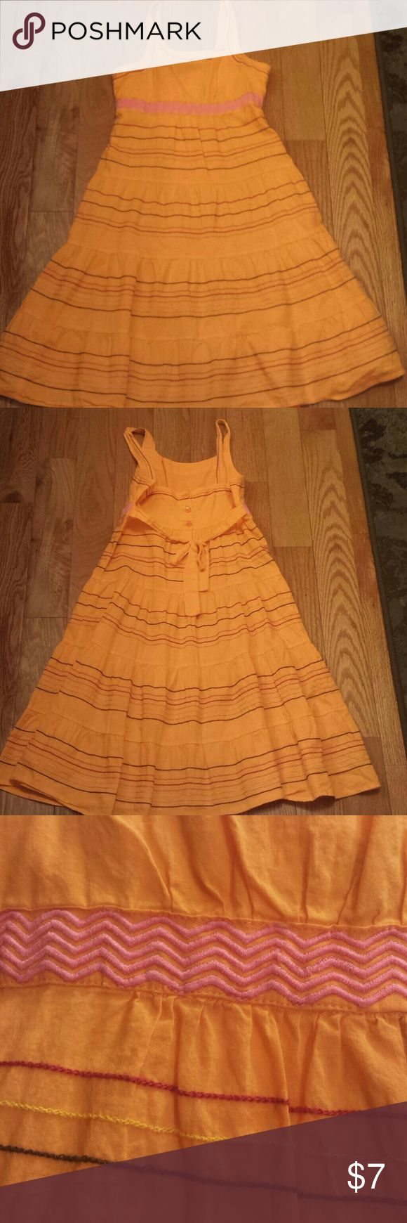 Girls Sundress Size 14 Cute orange girls sundress; Size 14; Ties in back; Pink, yellow, red, and black thread accents; Very cute! George Dresses Casual