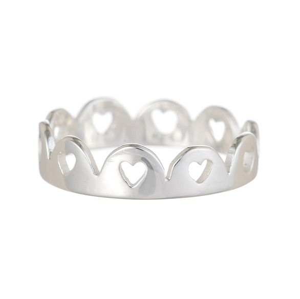 Crown of Hearts Ring - Silver - £125