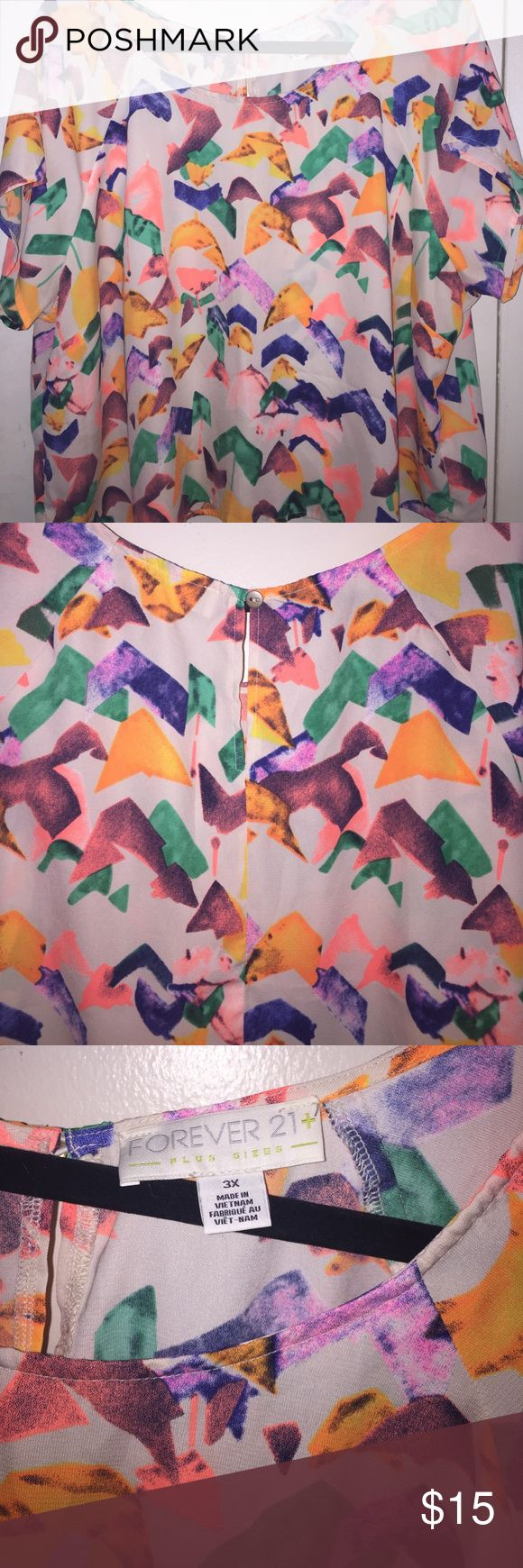 Plus Size Forever 21 Multi Color Crop Top Plus Size Forever 21 Multi Color Crop Top. Lightweight. Worn Once! Forever 21 Tops Blouses