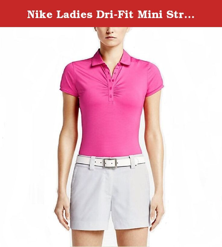 Nike Ladies Dri-Fit Mini Stripe Golf Polo Shirt Pink X-Small 828285-616. The Nike Mini Stripe Women's Golf Polo is made with sweat-wicking stretch fabric and ergonomic seams to help keep you dry and moving freely on the course. •Dri-FIT fabric to wick away sweat and help keep you dry and comfortable •Fold-over collar and five-button placket for classic polo style •Body-mapping seams and stretch fabric for contoured comfort •Cap sleeves and vented hem for enhanced fit •Allover stripes...