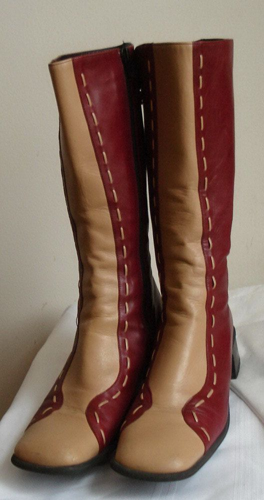 VERY Retro Funky Original Piu di Servas Europe Two-tone Red Tan LEATHER spectator 39 s 9 BOOTS Low stack heel vintage Hardly worn Footweare by MushkaVintage3
