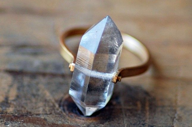 Herkimer Diamond Quartz - Herkimer diamonds are much more like crystals than diamonds, and they have a decidedly otherworldly quality to them. Each of these rings is handmade to order, making each one totally unique.